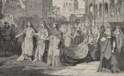 """[Enregistrements sonores] / Théâtre royal de Munich, représentation de """"Lohengrin"""", opéra de Richard Wagner, acte II, scène dernière / [d'après un] dessin de M. Th. Pixis - source : gallica.bnf.fr / BnF"""