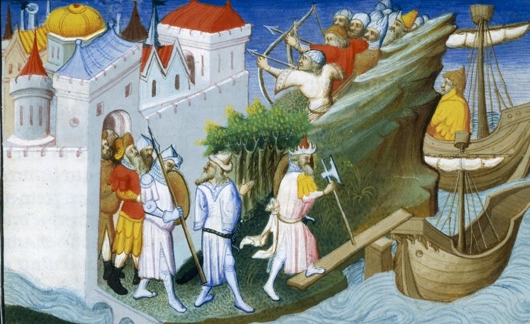Mongols trompant les Japonais. Marco Polo. Livre des Merveilles. Français 2810 f. 72
