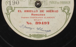 El aniello de hierro. Romanza / Pedro Miguel Marqués, comp. ; Esperanza Clasenti, soprano ; acc. au piano - source : gallica.bnf.fr / BnF
