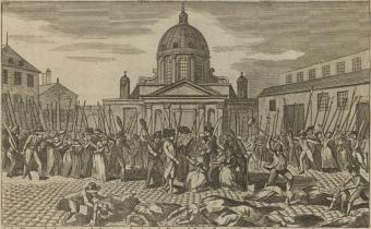Terrible massacre de femmes dont l'histoire n'a jamais donné l'exemple : le 3 7.bre 1792 des hommes ivres du sang versé...