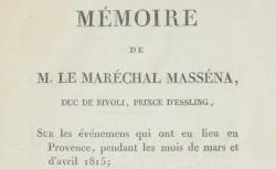 """Accéder à la page """"Massena, André maréchal de, Mémoires"""""""