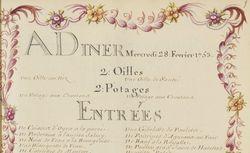 Voyages du Roy au château de Choisy, avec les logements de la cour et les menus de la table de Sa Majesté. Année 1753