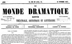 """Accéder à la page """"Monde dramatique (Le) : revue théâtrale, artistique et littéraire"""""""