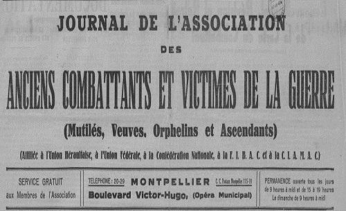 """Accéder à la page """"Journal de l'Association des anciens combattants et victimes de la guerre (Montpellier)"""""""