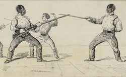 Ce soir samedi 16 février 1861, salle de la Redoute, assaut extraordinaire ... huit assauts : assaut d'épée, de sabre, d'adresse française, de canne [...]