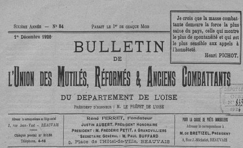 """Accéder à la page """"Bulletin de l'Union des mutilés, réformés et anciens combattants du département de l'Oise"""""""