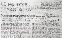 """Accéder à la page """"Patriote bas-alpin (Le)"""""""