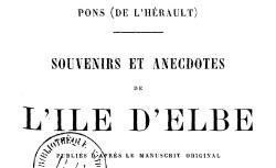 """Accéder à la page """"Pons de l'Hérault, Souvenirs de l'île d'Elbe"""""""