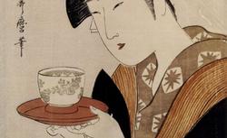 Utamaro. Une jeune femme tenant une tasse de porcelaine sur une soucoupe rouge, 18..? RESERVE DE-12-BTE FOL