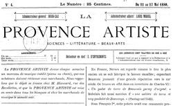 """Accéder à la page """"Provence artiste (La)"""""""