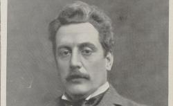 "Giacomo Puccini / reprod. photomec. d'un cliché du Studio Bertierl, Turin, en couv. de la revue ""Musica"", 1903"