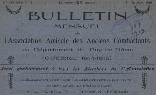 """Accéder à la page """"Bulletin mensuel de l'Association amicale des anciens combattants du département du Puy-de-Dôme (guerre 1914-1918) """""""