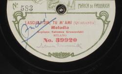 Lasciali dir, tu m'ami. Melodia / Quaranta, comp. ; Salomea Krusceniski, S ; acc. de piano - source : gallica.bnf.fr / BnF