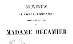"""Accéder à la page """"Récamier, Madame, Souvenirs"""""""