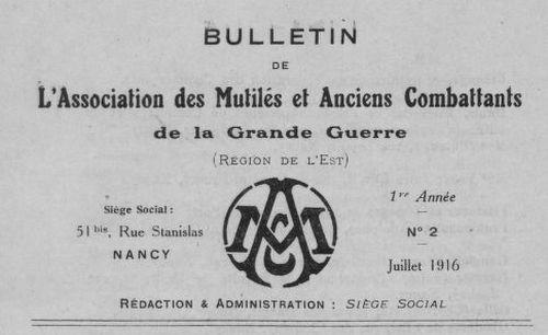 """Accéder à la page """"Bulletin de l'Association des mutilés et anciens combattants de la Grande Guerre (Région de l'Est)"""""""