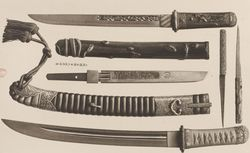 """Armes anciennes de la collection de M. S. Bing"". L.Gonse. L'art japonais, 1883, T2. RES G-V-58(2). pl. XV"