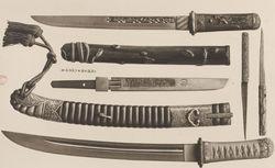 """""""Armes anciennes de la collection de M. S. Bing"""". L.Gonse. L'art japonais, 1883, T2. RES G-V-58(2). pl. XV"""