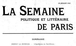 """Accéder à la page """"Semaine politique et littéraire de Paris (La)"""""""