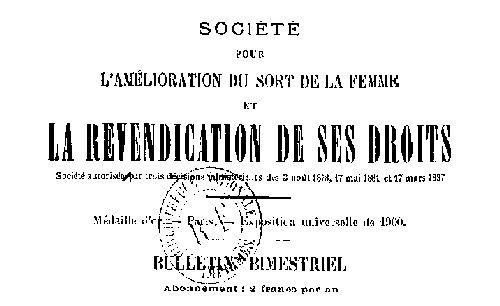 """Accéder à la page """"Bulletin trimestriel - Société pour l'amélioration du sort de la femme et la revendication de ses droits"""""""