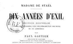 """Accéder à la page """"Staël, Madame de, Dix années d'exil"""""""