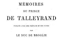 """Accéder à la page """"Talleyrand, prince de, Mémoires"""""""