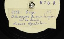 """Accéder à la page """"Ademevoe de mu le yoso : chant de danse ; Duadeo kpa hamelo na ye : chant de danse / M. Denis Huedakor, chant ; acc. de cloches de fer"""""""
