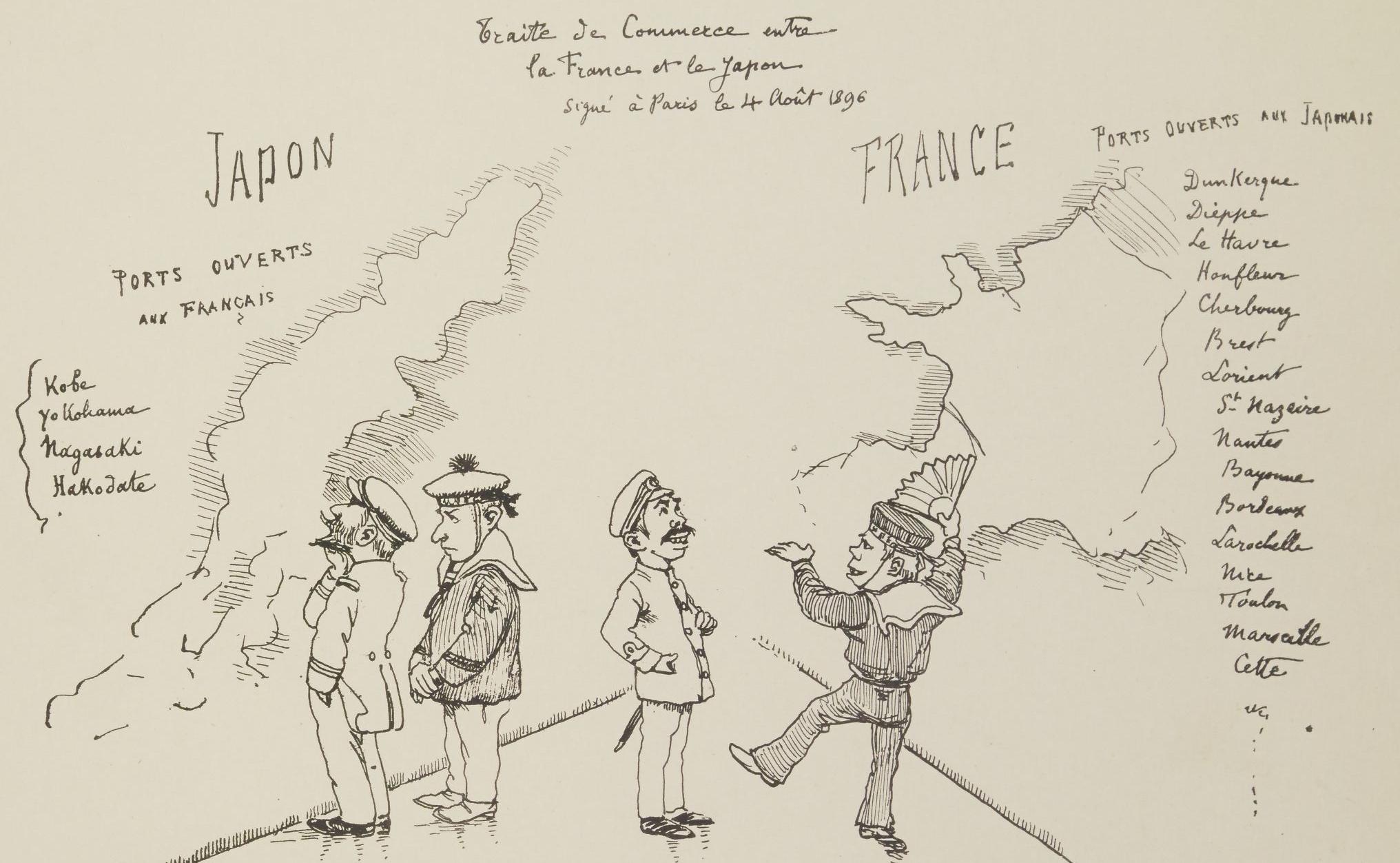 G-F. Bigot, Traité de commerce entre la France et le Japon signé à Paris, le 4 août 1896. 4-O2-117