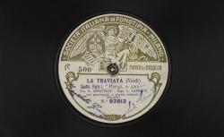 """La Traviata. Duetto. Parte I : """"Parigi, o cara ?"""" ; Verdi, comp. ; G. Zenatello, tenor, L. Cannetti, soprano ; acc. de grand orchestre - source : gallica.bnf.fr / BnF"""