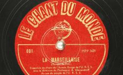 Disque NC Chant du monde 601 - L'Ensemble est dirigé par le professeur Alexandre Vassilievitch Alexandroff (1883-1946), compositeur russe et fondateur de la formation - source : BnF/gallica.bnf.fr