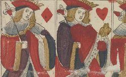 Fragments de cartons moulés et peints d'un jeu de cartes au portrait de Lyon