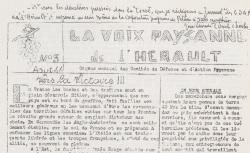 """Accéder à la page """"Voix paysanne de l'Hérault (La)"""""""