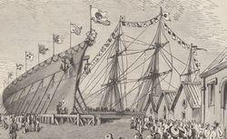 """""""Lancement de la canonnière Seiki [...] à l'arsenal de Yokosuka"""". Le Monde illustré, 29/05/1875. FOL-LC2-2943. p. 322"""