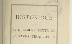 """Accéder à la page """"Historique du 1er régiment mixte de zouaves-tirailleurs"""""""