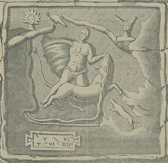 Monument mithriaque au Bourg-Saint-Andéol (Ardèche). Image publiée à Toulouse le 9 janvier 1887 dans le journal : Le Dimanche illustré : Semaine religieuse de Toulouse