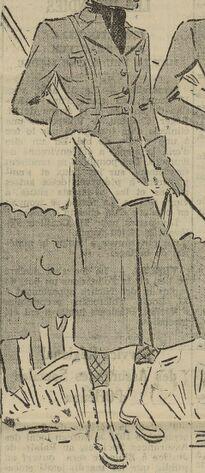 Chasse et sport. La jupe-culotte. Image publiée à Blois le 12 septembre 1937 dans le journal : Le Réveil de Loir-et-Cher