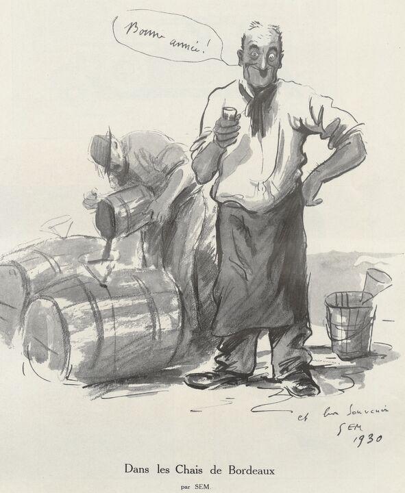 Dans les chais de Bordeaux. Bonne année ! par Sem. Image publiée à Bordeaux en décembre 1929/janvier 1930 dans le journal : Tourny-Noël