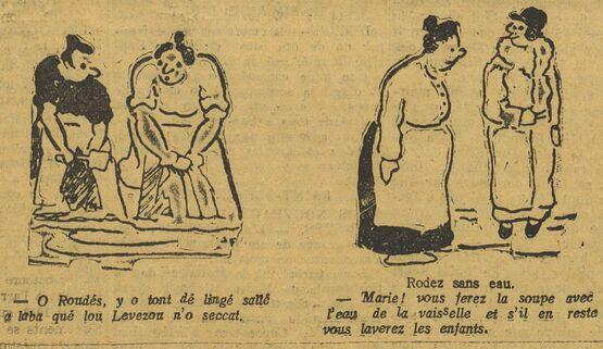 Rodez sans eau. Croquis par Jean Ferrieu publiés à Rodez le 7 octobre 1934 dans le journal : La Croix de l'Aveyron
