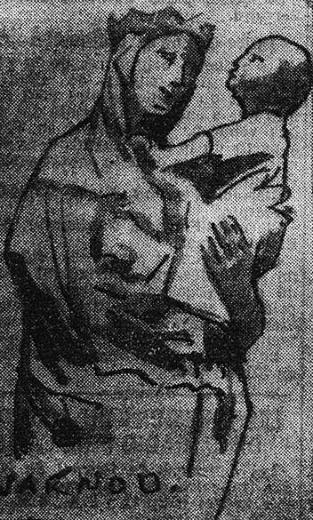 La Vierge à l'oiseau, église Notre-Dame du Marthuret, Riom. Dessin d'André Warnod. Image publiée à Clermont-Ferrand le 8 août 1940 dans le journal : Le Figaro