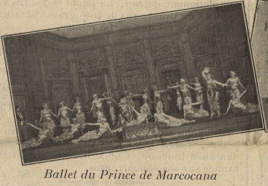 Fêtes de la saison 1927 [à Aix-les-Bains] : ballet du Prince de Marcocana. Image publiée à Chambéry le 4 mars 1928 dans : Le Journal d'Aix-les-Bains