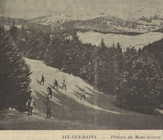 Aix-les-Bains, plateau du Mont-Revard. [Ski]. Image publiée à Chambéry le 13 janvier 1932 dans le journal : Bulletin des étrangers en séjour à Aix-les-Bains