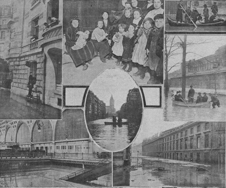 Paris sous l'eau. Image publiée à Saint-Jean d'Angély en janvier/février 1910 dans le journal : L'Union agricole des deux Charentes