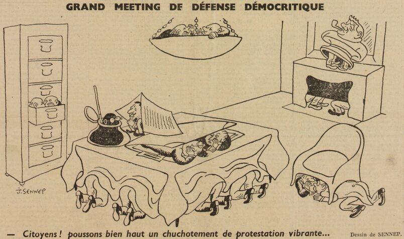 Grand meeting de défense démocritique. Citoyens ! poussons bien haut un chuchotement de protestation vibrante... Dessin de Sennep publié à Clermont-Ferrand le 27 novembre 1940 dans le journal : Candide