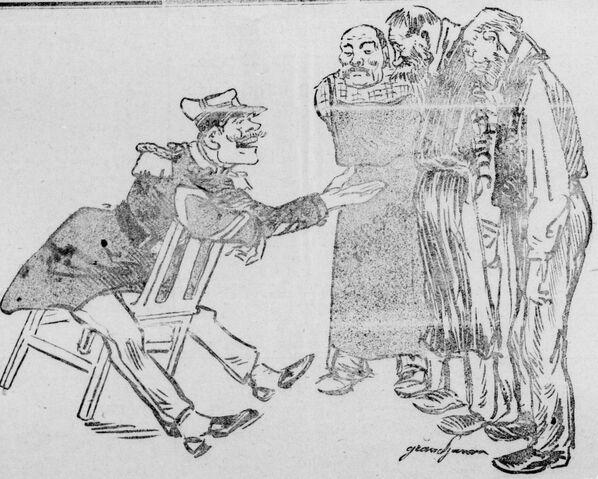 Vous voulez des retraites, vous ! Image publiée à Arras le 27 mars 1910 dans le journal : Le Réveil artésien : organe révolutionnaire