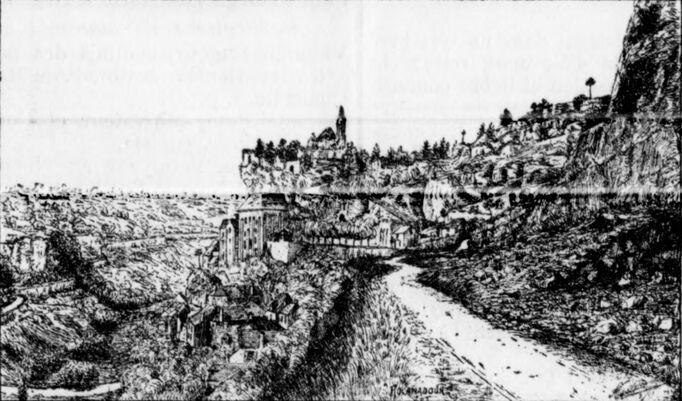 Vallée de l'Alzou. Entrée de Rocamadour par la Voie sainte (D32) en venant de l'Hospitalet. Image publiée à Paris le 16 avril 1911 dans le journal : Le Lot à Paris