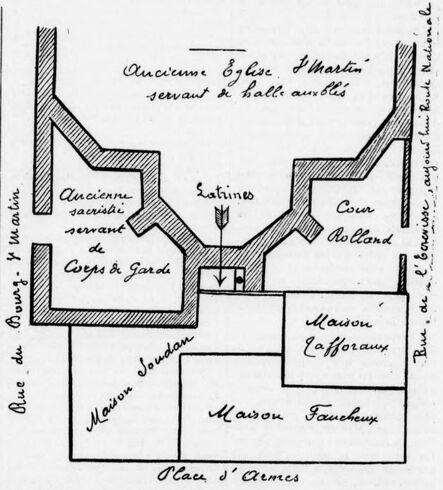 Vendôme, ancienne église de Saint-Martin, plan des immeubles acquis en 1829 pour agrandir la Place d'Armes [Place de la République]. Image publiée à Vendôme le 12 septembre 1913 dans le journal : Le Progrès de Loir-et-Cher