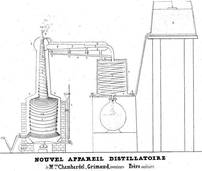 Nouvel appareil distillatoire de messieurs Chambardel, Grimaud, inventeurs, Frère, sociétaire. Image publiée à Poitiers en 1840/1841 dans le journal : Le Spectateur