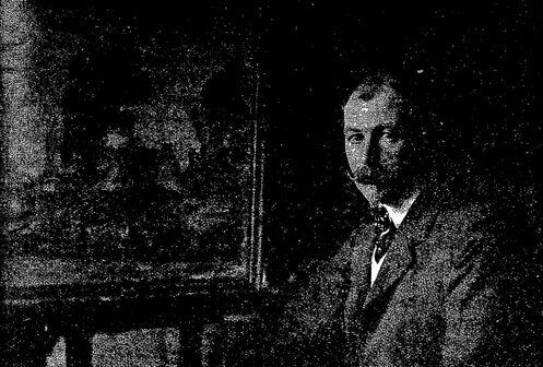 Le peintre Paul Madeline dans son atelier. Image publiée à Limoges le 15 avril 1911 dans le journal : Limoges-illustré