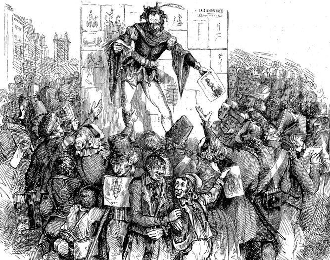 Distribution de caricatures (lithographie par Étienne Collet). Image publiée à Troyes le 20 septembre 1840 dans le journal : La Silhouette