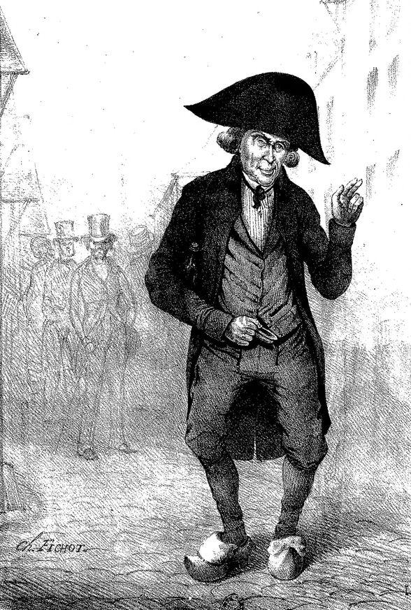 Étienne Coché, crieur de vin (lithographie par Charles Fichot). Image publiée à Troyes le 4 octobre 1840 dans le journal : La Silhouette