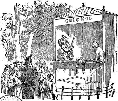Guignol [Castelet dans un parc. Un chat regarde Guignol tombé sous les coups de bâton de Polichinelle]. Image publiée à Saumur le 10 avril 1866 dans le journal : Le Guignol